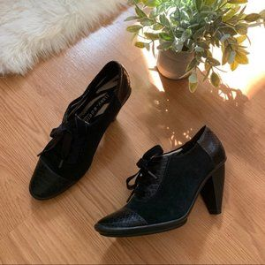 libby. edelman Black Snakeskin Fall Ankle Booties